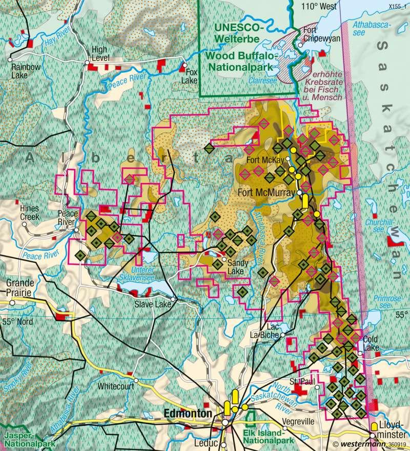 Alberta (Kanada) | Ölsandabbau | Vereinigte Staaten von Amerika (USA), Kanada - Wirtschaft | Karte 214/1