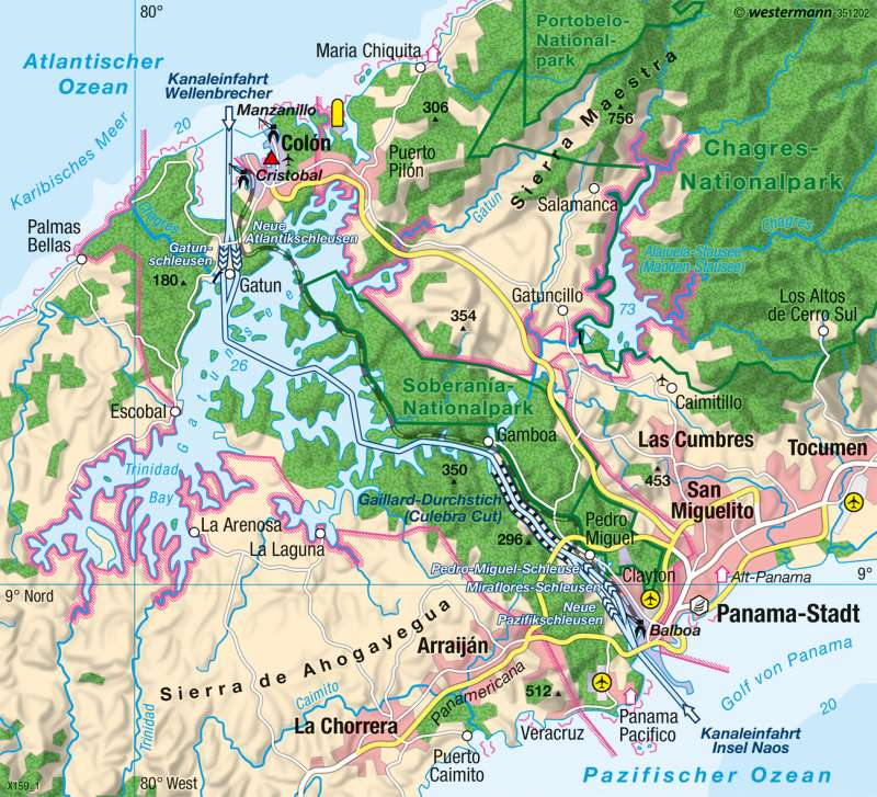 Panamakanal | Verbindung der Weltmeere | Physische Karte | Karte 157/2