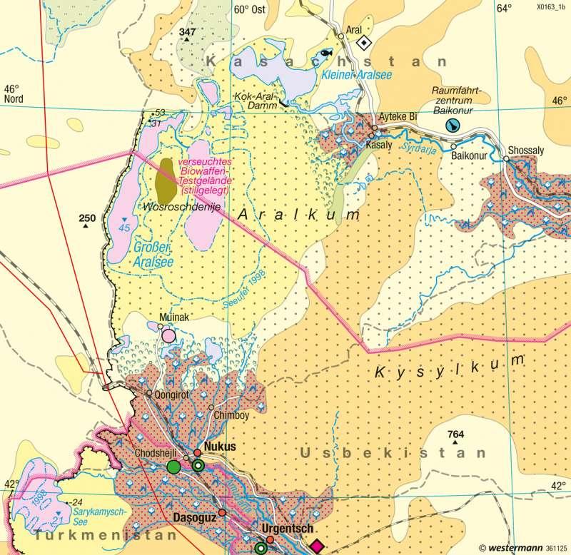 Aralsee | Landschaftswandel | Nord- und Zentralasien - Räume im Wandel | Karte 173/5