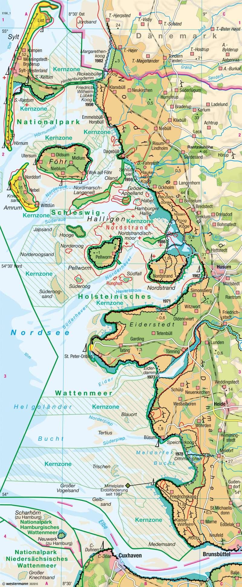Karte Nordseeküste Niedersachsen.Diercke Weltatlas Kartenansicht Nordsee Wattenküste 978 3 14