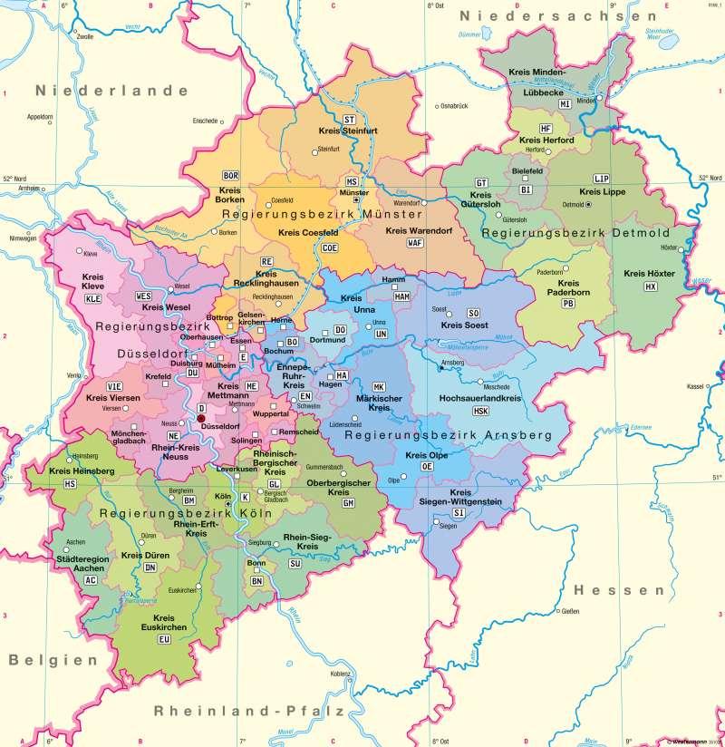 Nordrhein-Westfalen | Verwaltung | Verwaltung | Karte 10/1