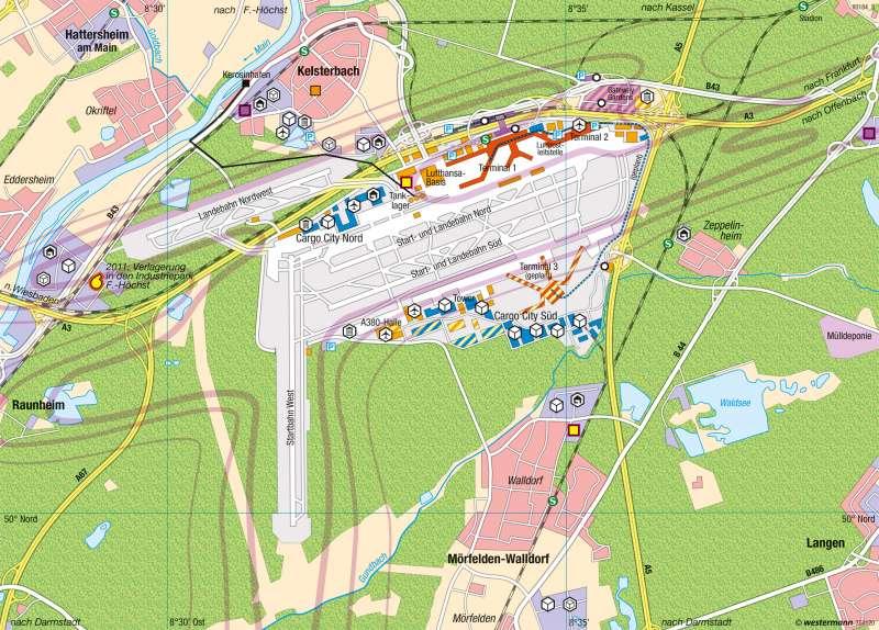 Frankfurt am Main | Flughafen | Dienstleistungsregion Rhein-Main | Karte 45/3