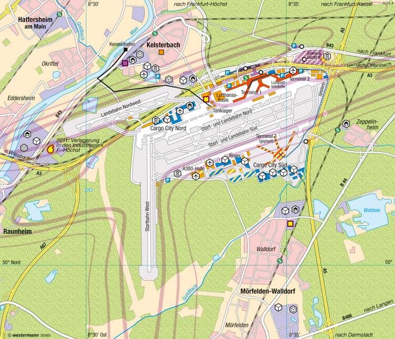 Frankfurt am Main | Flughafen | Verkehr | Karte 45/6