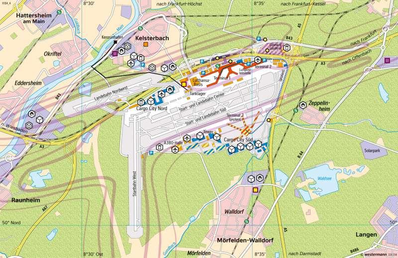 Flughäfen Deutschland Karte.Diercke Weltatlas Kartenansicht Frankfurt Am Main Flughafen