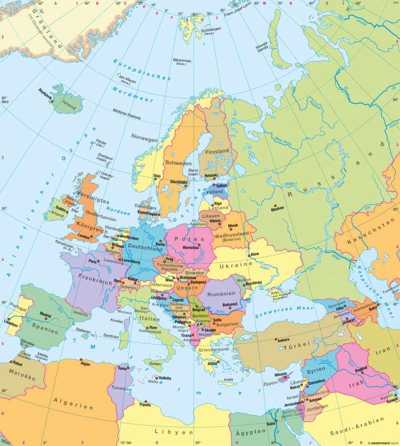 Europa | Politische Übersicht | Europa - Staaten | Karte 85/5