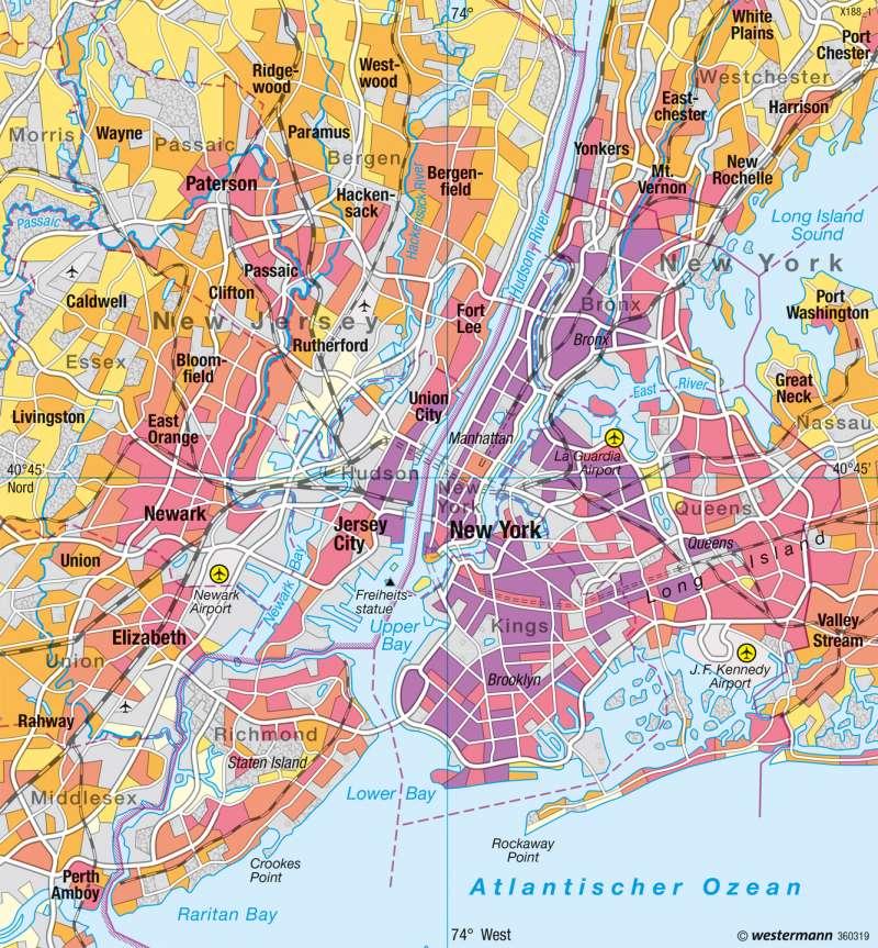 New York | Bevölkerungsdichte | USA - Städte | Karte 219/3