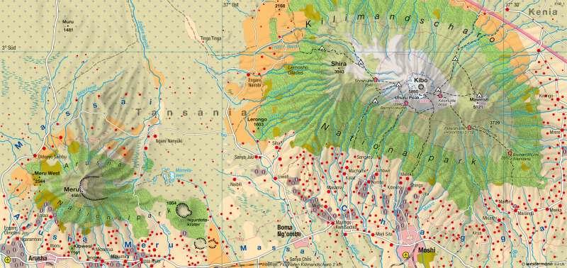 Kilimandscharo/Meru (Tansania) | Natur- und Kulturlandschaft | Afrika - Ökozonale Landnutzung | Karte 151/6