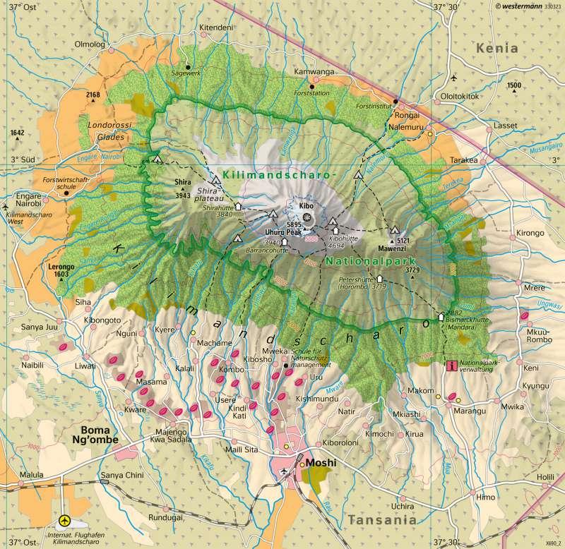 Kilimandscharo (Tansania) | Höchster Berg Afrikas | Afrika - Orientierung | Karte 180/2