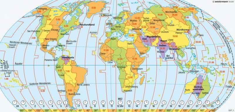 Erde | Zeitzonen | Staaten, Bündnisse, Zeitzonen | Karte 227/3