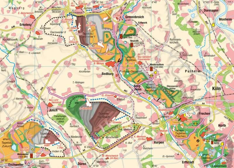 Nordrhein-Westfalen | Rheinischer Braunkohletagebau | Rheinisches Braunkohlenrevier | Karte 19/5