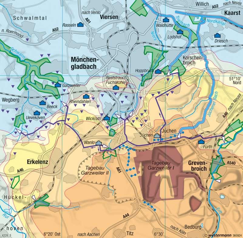 Nordrevier | Grundwasserabsenkung | Deutschland - Rheinisches Braunkohlenrevier | Karte 67/2