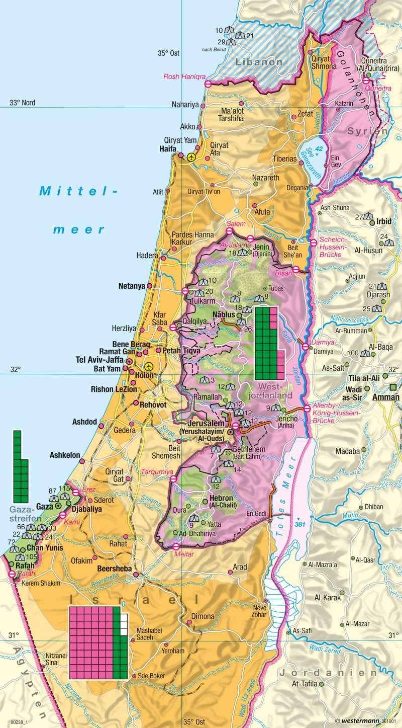 Palästinensische Gebiete | Siedlungsgebiete | Naher Osten (Israel) | Karte 178/2