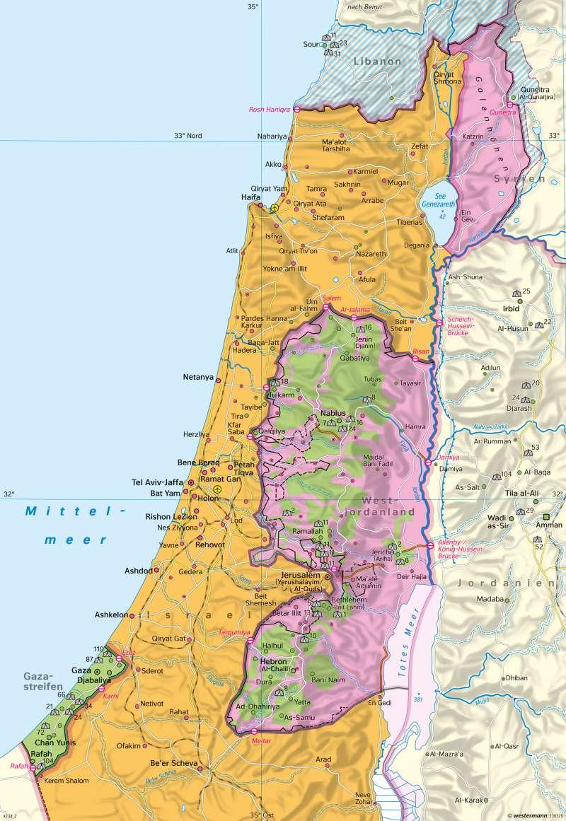 Diercke Weltatlas Kartenansicht Israel Palastinensische