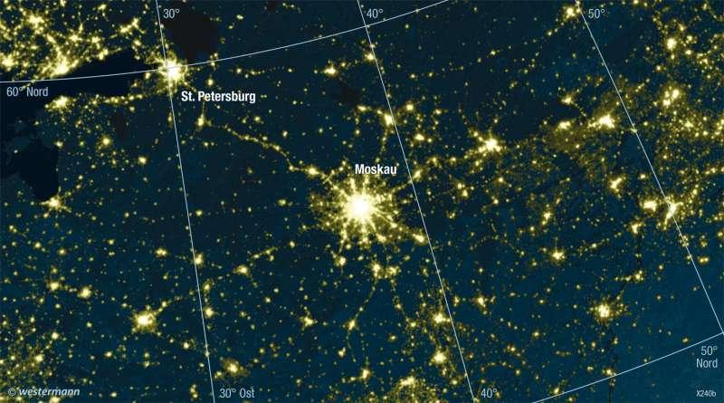 | Ballungsräume bei Nacht | Europa - Physische Übersicht | Karte 87/2