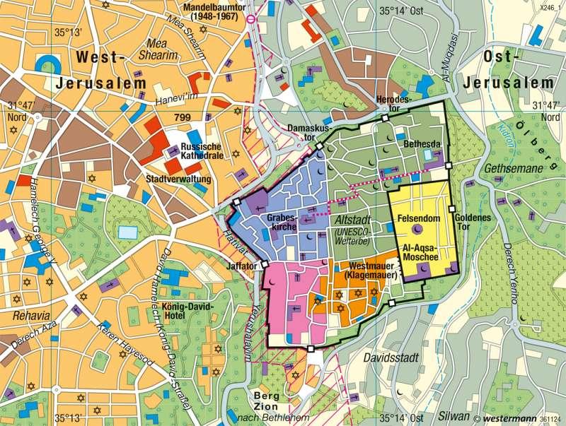 Jerusalem Karte Heute.Diercke Weltatlas Kartenansicht Jerusalem Altstadt