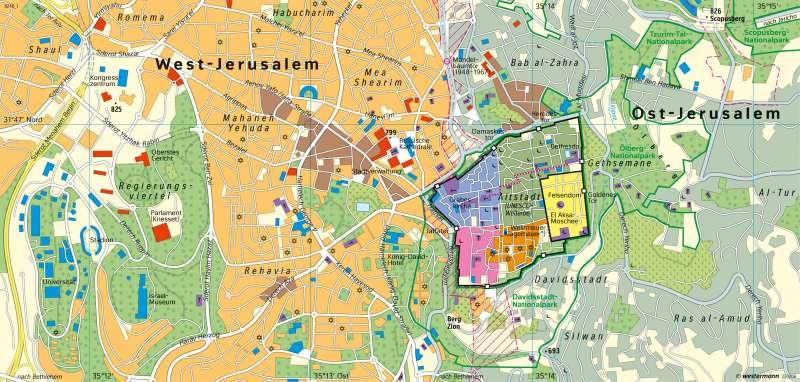 Jerusalem | Heilige Stadt für drei Weltreligionen | Erde - Glaubensgemeinschaften | Karte 36/2
