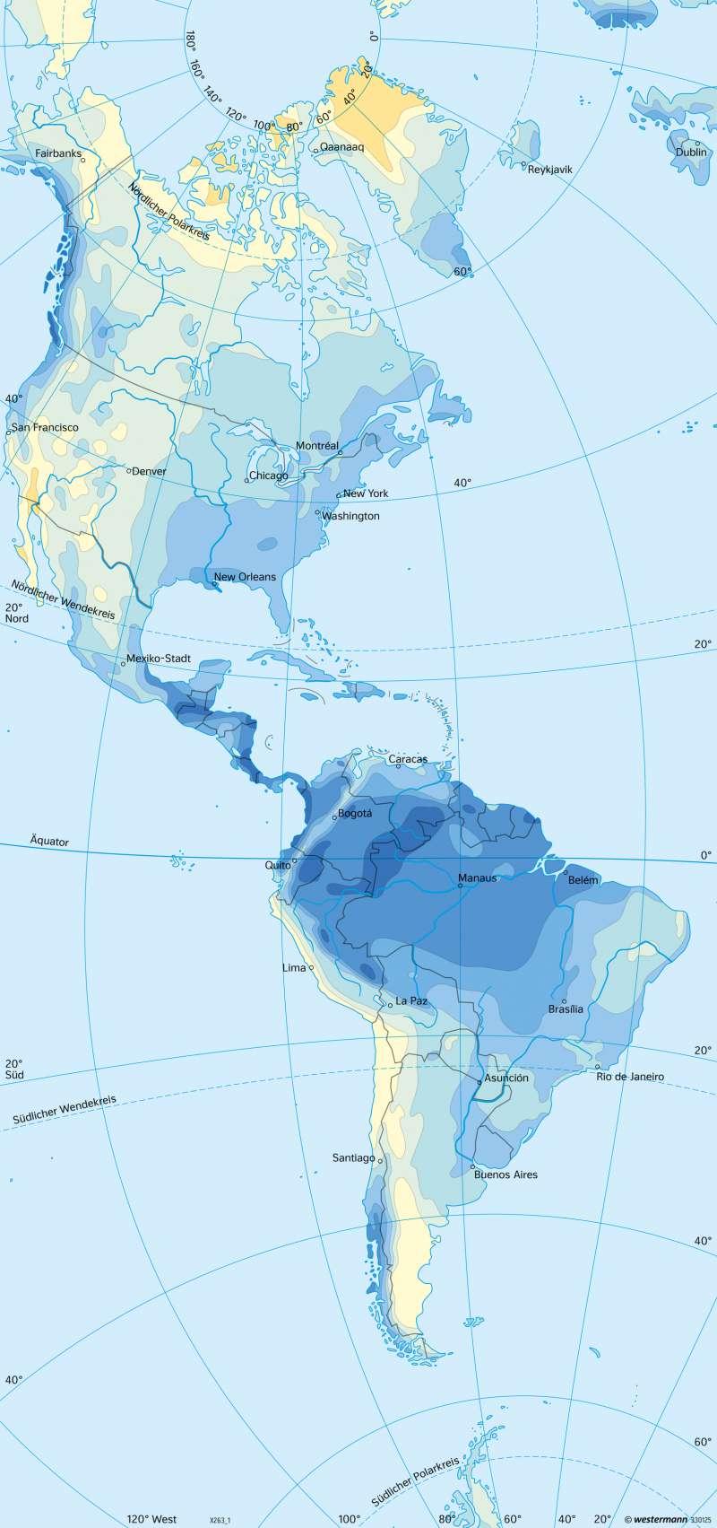 Amerika | Niederschläge im Jahr | Amerika - Klima | Karte 211/3