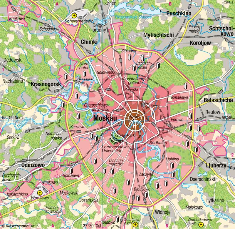 Moskau | Übersicht | Osteuropa - Wirtschafts- und Siedlungsstrukturen | Karte 145/2