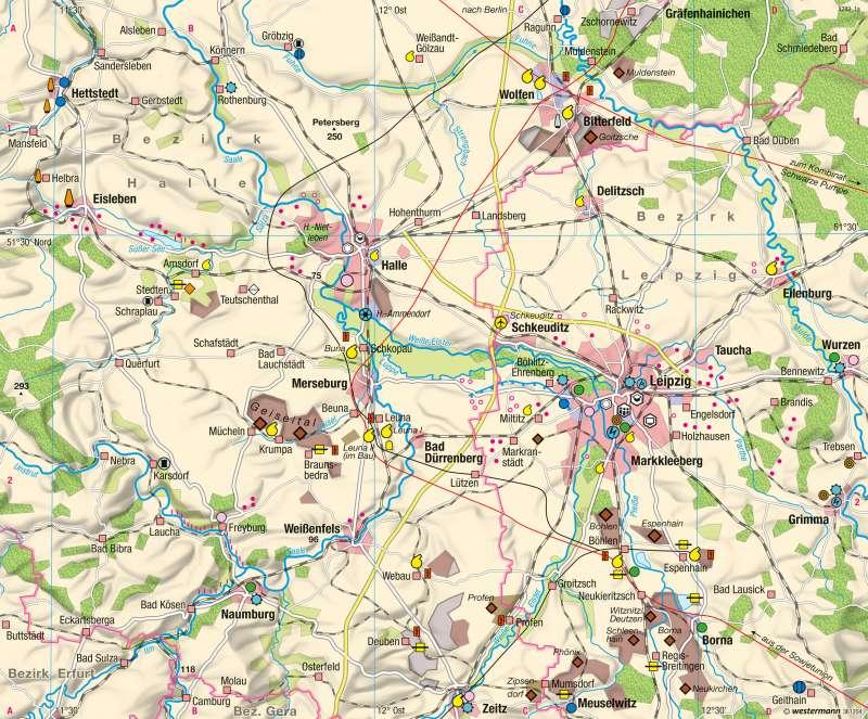 Industrieraum Halle-Leipzig | 1960 | Wirtschaftsraum Halle-Leipzig - Transformation | Karte 42/1
