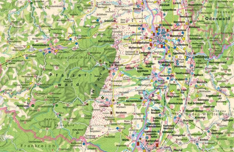 Pfalz, Rhein-Neckar | Wirtschaft | Wirtschaftsraum Rhein-Neckar - Dezentrale Konzentration | Karte 47/4