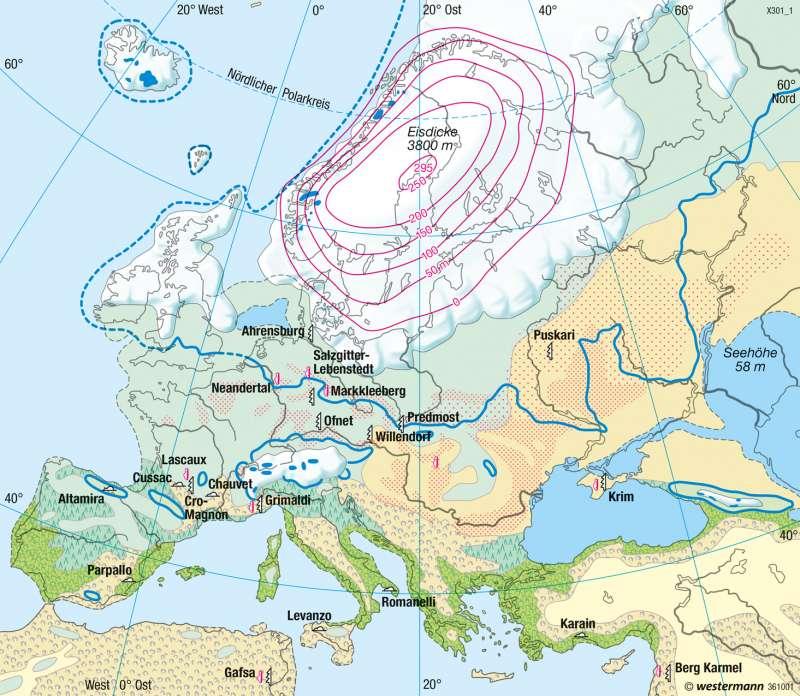Europa | Landschaft zur letzten Kaltzeit (Würm/Weichsel, vor 18000 Jahren) | Europa - Erdgeschichte und Geologie | Karte 88/1