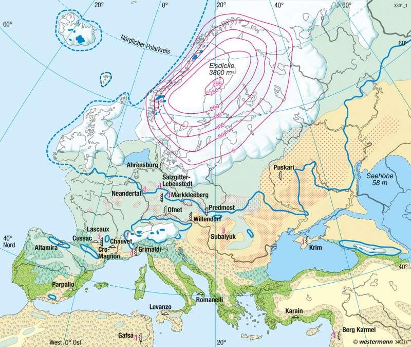 Europa | Landschaft zur letzten Kaltzeit (Würm/Weichsel, vor 18 000 Jahren) | Landwirtschaft | Karte 61/2