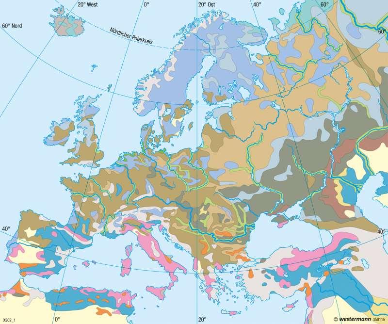Europa | Bodentypen | Europa - Landwirtschaft | Karte 97/2