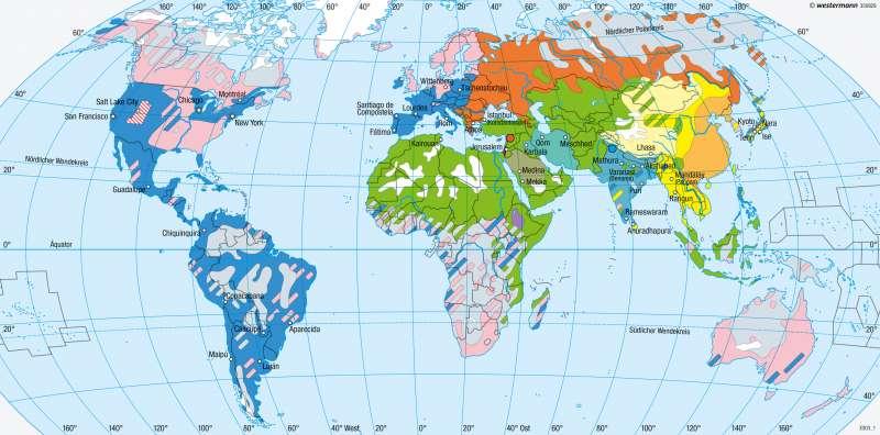 Erde | Religionen | Religionen und Sprachen | Karte 194/1