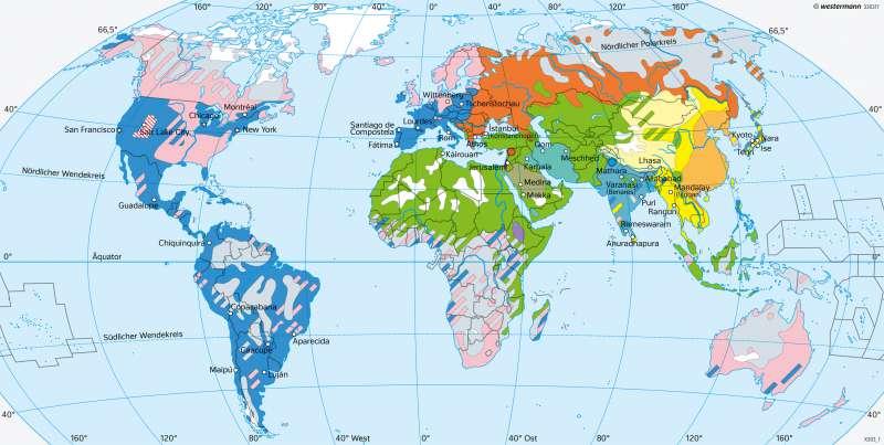 Erde | Religionen | Erde - Glaubensgemeinschaften | Karte 36/1