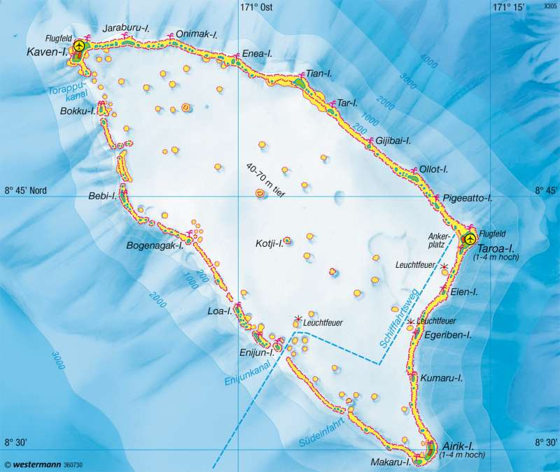 Maloelap (Marshallinseln) | Atoll | Australien und Ozeanien - Physische Übersicht | Karte 199/3