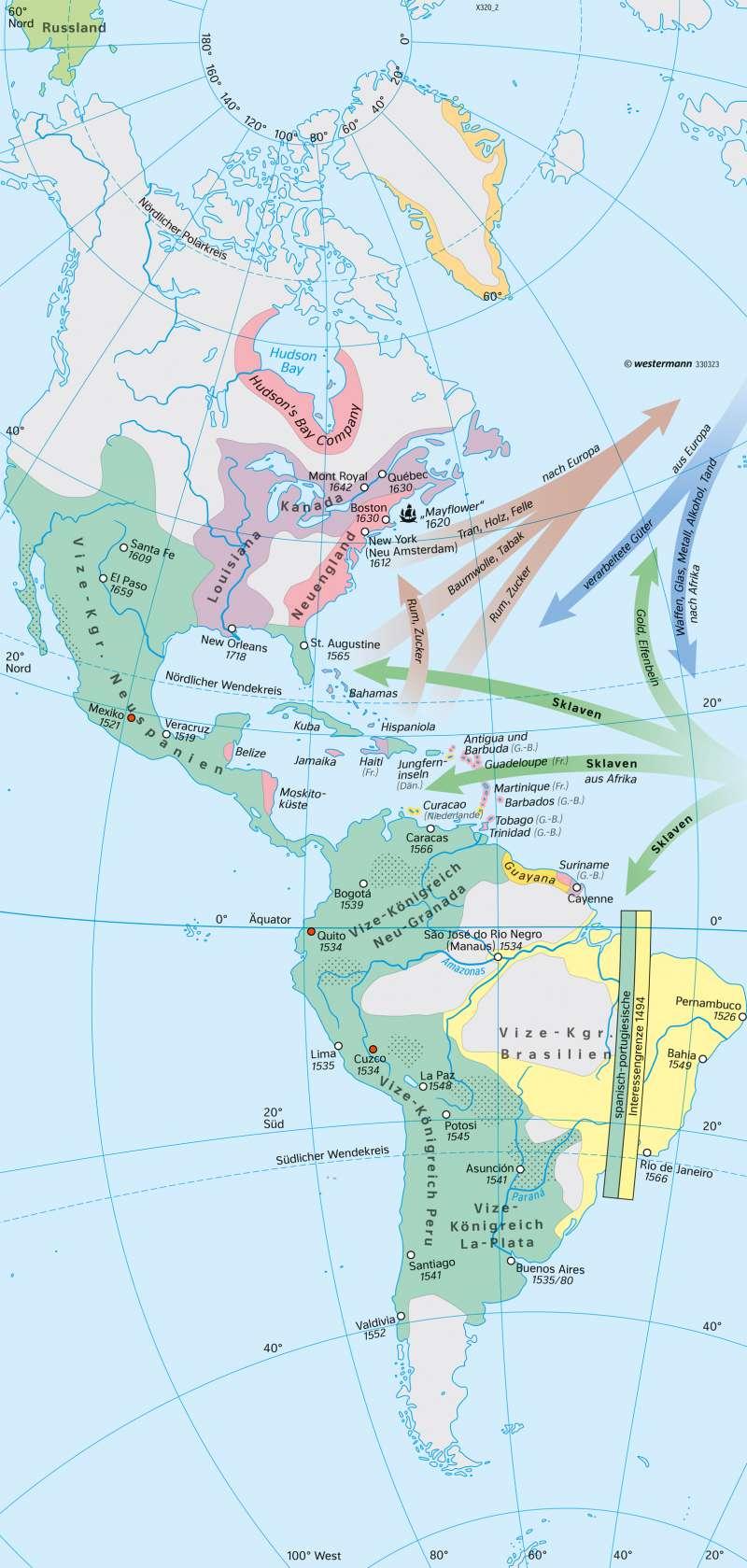 Amerika | Europäisierung Mitte 18. Jahrhundert | Amerika - Staaten und Geschichte | Karte 208/2
