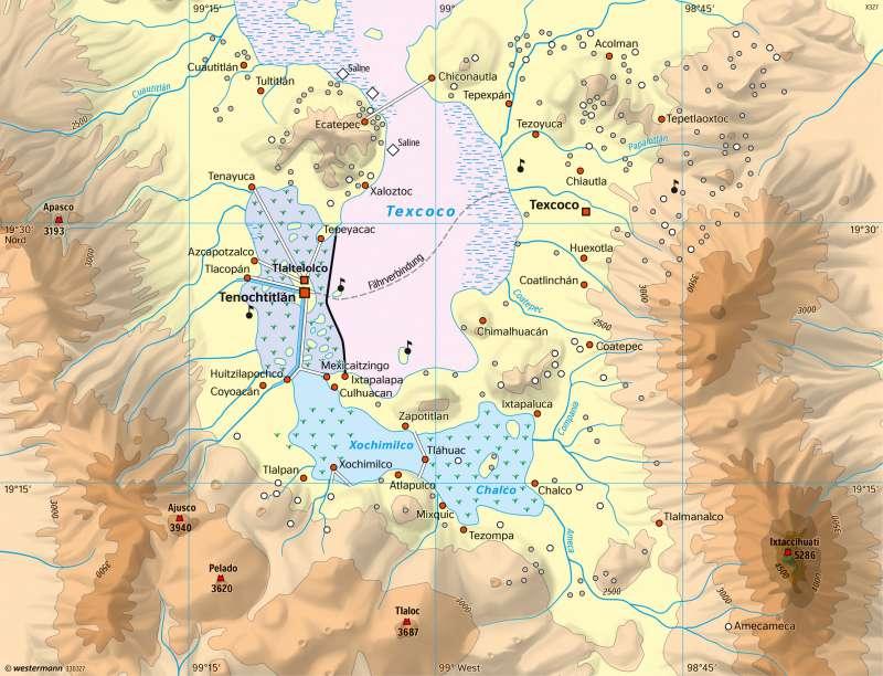 Hochtal von Mexiko | Tenochtitlán und Umgebung um 1500 | Kalifornien (USA)/Mexiko - Tallandschaften im Wandel | Karte 227/4
