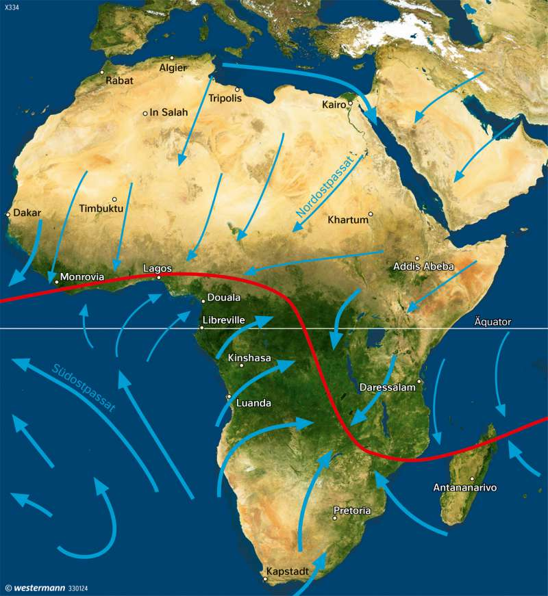 Afrika | Vegetationsbedeckung im Januar | Afrika - Immerfeuchte und wechselfeuchte Tropen | Karte 186/3