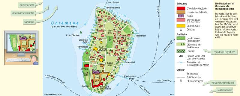 Chiemsee Karte.Diercke Weltatlas Kartenansicht Fraueninsel Ausflugsziel Im