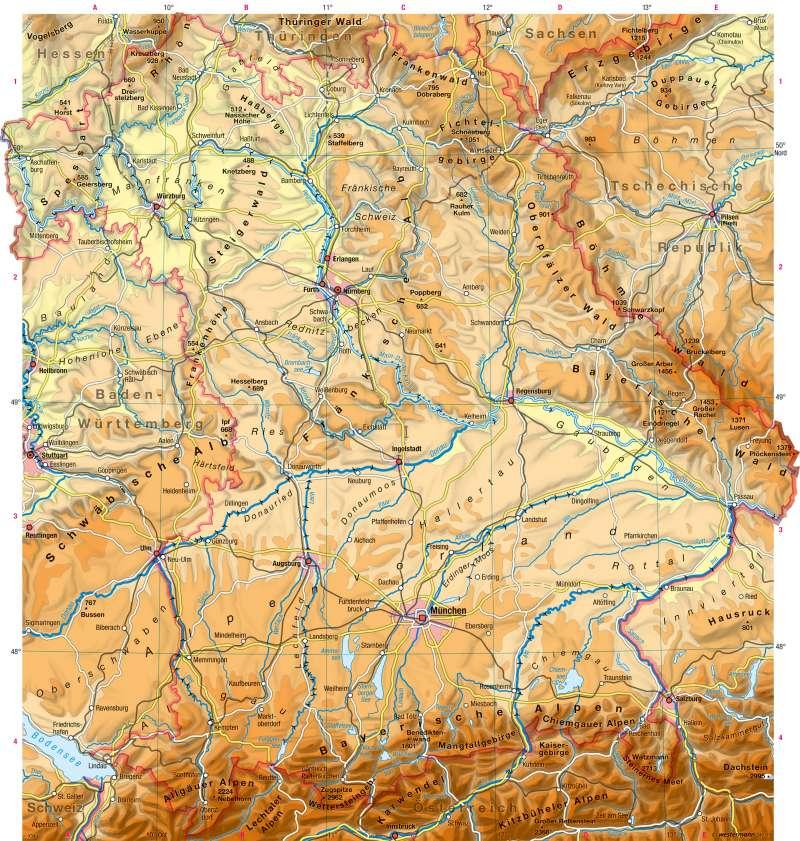 Karte Bayern.Diercke Weltatlas Kartenansicht Bayern Physische übersicht