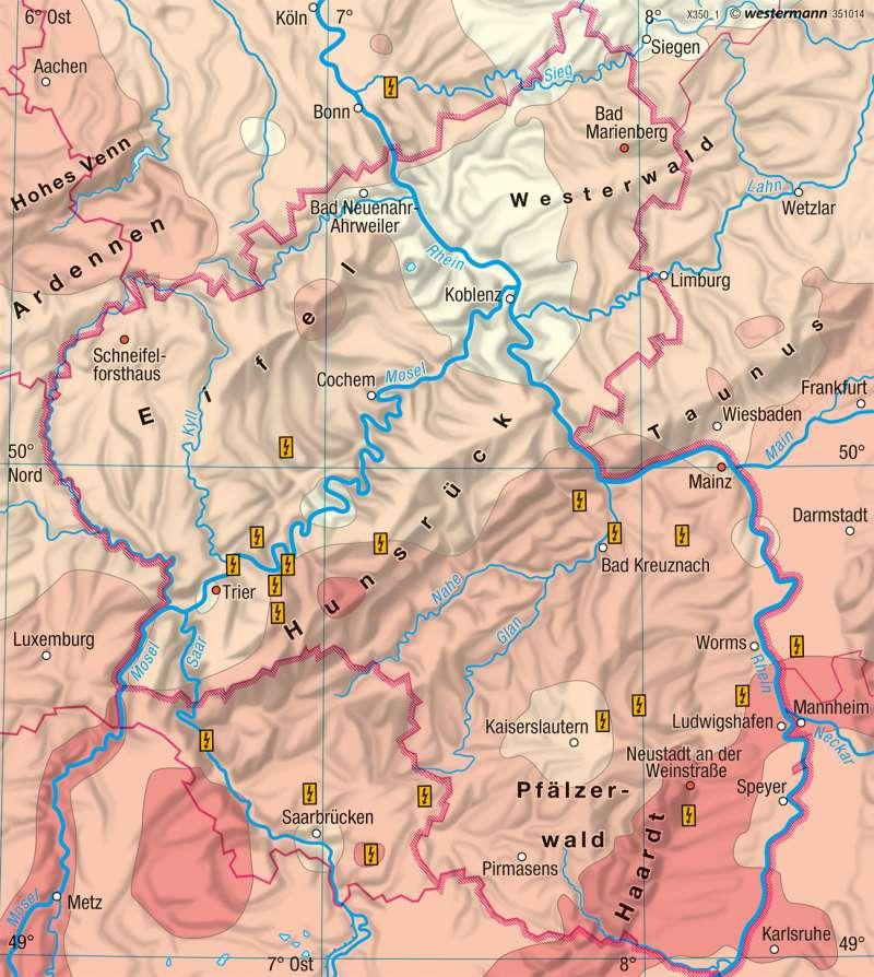 Rheinland-Pfalz | Sonnenscheindauer im Jahr | Landwirtschaft und Klima | Karte 17/5