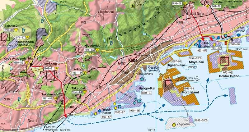 Kobe | Neulandgewinnung | Japan - Städtewachstum | Karte 192/2