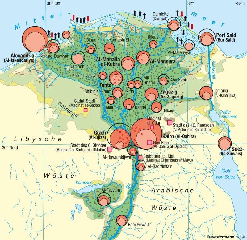 Unter-Ägypten | Bevölkerung | Afrika - Siedlungsentwicklung | Karte 152/1