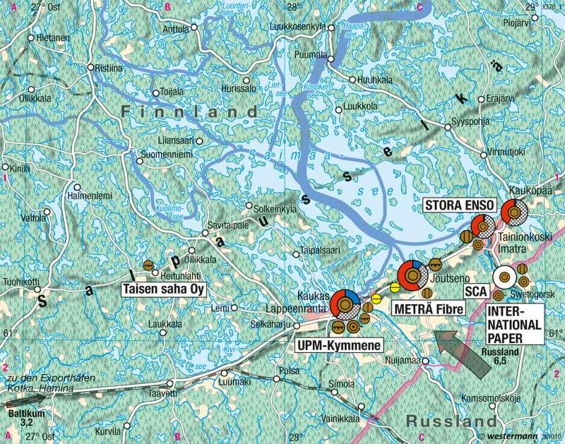 Saimaasee | Produktionsverflechtung in der Holzindustrie | Skandinavien, Baltikum - Wirtschaft | Karte 109/3