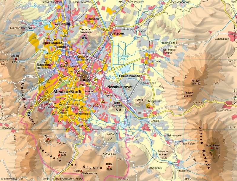 Hochtal von Mexiko   Mexiko-Stadt heute   Kalifornien (USA)/Mexiko - Tallandschaften im Wandel   Karte 227/5