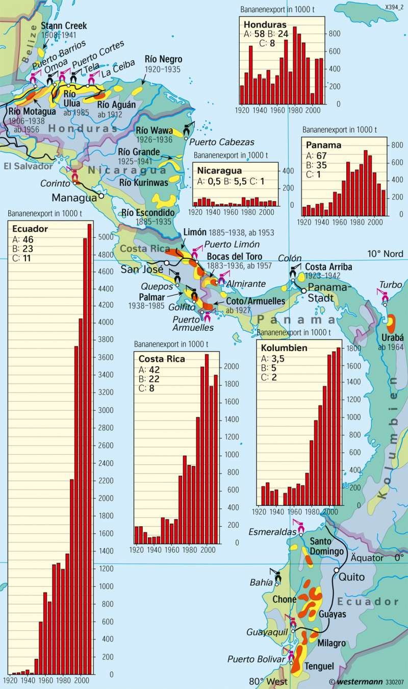 Mittelamerika | Bananenanbau | Amerika - Landwirtschaft | Karte 213/3