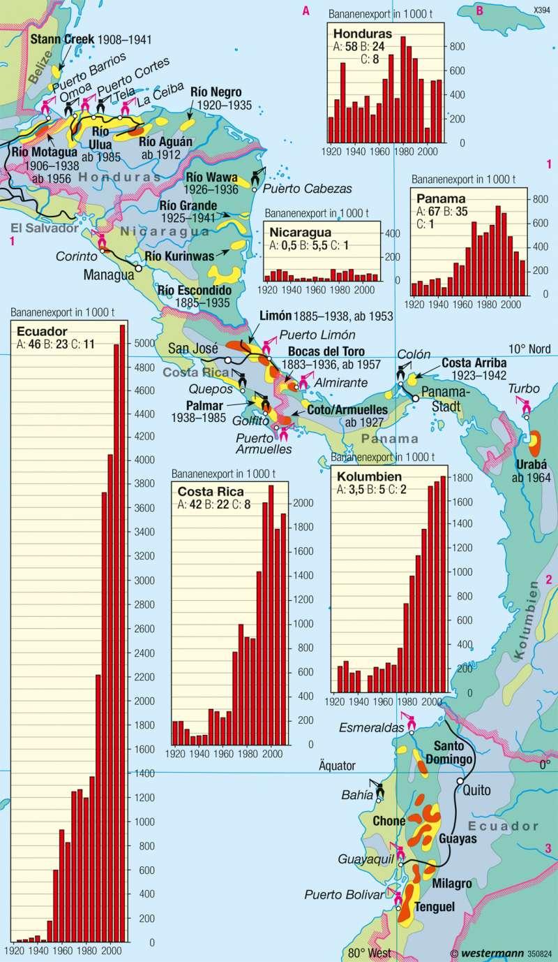 Mittelamerika | Bananenanbau | Wirtschaft | Karte 159/3