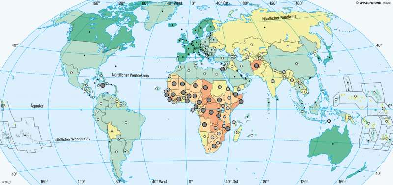 Erde | Lebenserwartung | Erde - Entwicklungsstand der Staaten | Karte 275/3