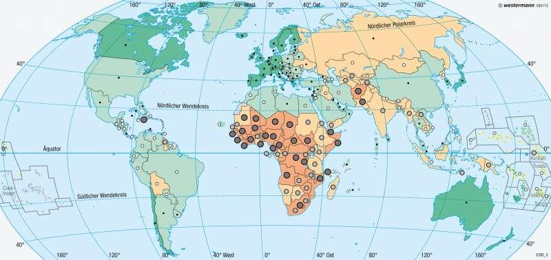 Erde | Lebenserwartung | Entwicklungsstand der Staaten | Karte 191/3