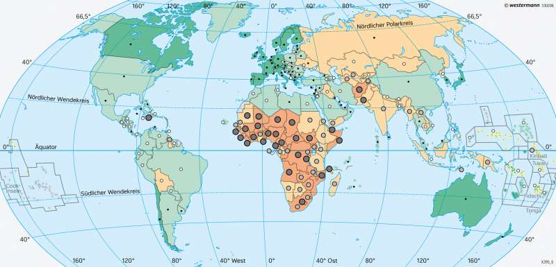 Erde | Lebenserwartung | Erde - Entwicklungsstand der Staaten | Karte 41/3
