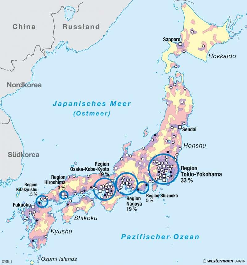 Japan | Bevölkerungsdichte | Asiatisch-Pazifischer Wirtschaftsraum | Karte 167/2