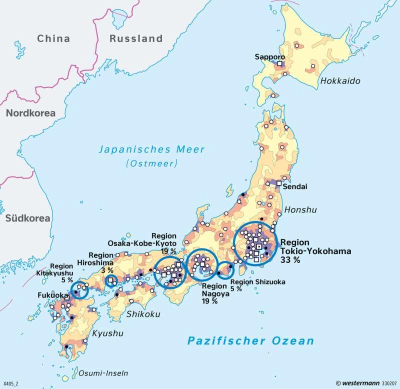 Japan   Bevölkerung   Japan - Naturrisiken und Wirtschaft in einem Industrieland   Karte 168/1
