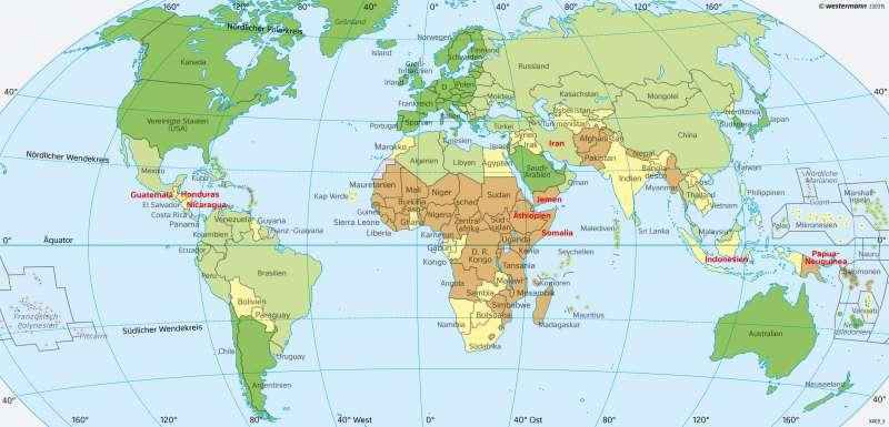 Erde   Entwicklungsstand (Weltbild)   Erde - Entwicklungsstand der Staaten   Karte 40/1