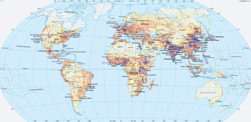 Bevölkerungsdichte und Megastädte |  | Erde | Karte 38/2