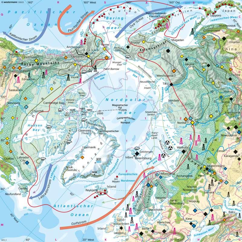 Nordpolargebiet (Arktis) | Naturraum | Polargebiete - Antarktis und Arktis | Karte 205/4